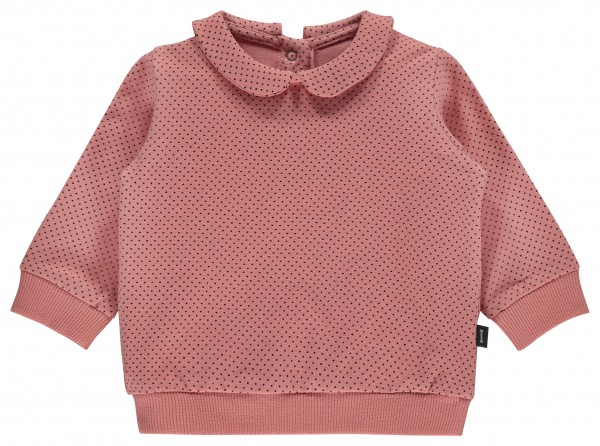 Longsleeve Dusty Pink light blue dots