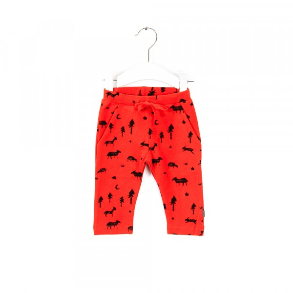 Broek poppy red dessin